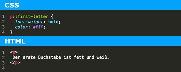 ::first-letter Pseudoelement Voll Webdesign Codeschnipsel